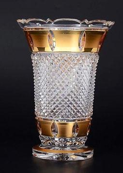 Хрустальная ваза для цветов Bohemia Cristal ЗОЛОТАЯ ПОЛОСА 20 см