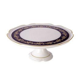 Блюдо для торта на ножке МАРИЯ ТЕРЕЗА СИНЯЯ Bavarian Porcelain 28 см