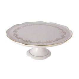 Блюдо для торта на ножке МАРИЯ ТЕРЕЗА БЕЛАЯ Bavarian Porcelain 28 см