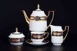 Чайный сервиз Thun МАРИЯ ЛУИЗА РОЗА ЗОЛОТАЯ КОБАЛЬТ на 6 персон 15 предметов