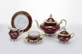 Немецкий чайный сервиз Weimar ЮВЕЛ Красный На 6 персон 21 предмет ( артикул МН 9393 В )