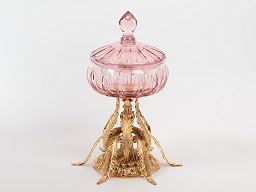 Декоративная ваза для конфет с крышкой Rozaperla 16 см