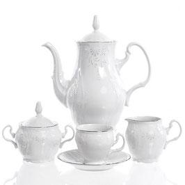 Кофейный сервиз Bernadotte Платиновый Ободок на 6 персон 15 предметов