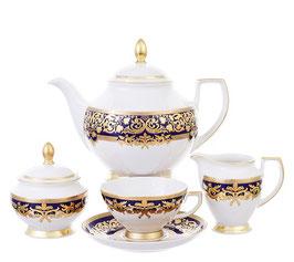 Чайный сервиз Falkenporzellan NATALIA COBALT GOLD на 6 персон 15 предметов