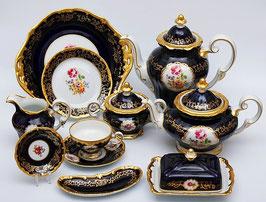 Немецкий чайный сервиз Weimar САНКТ ПЕТЕРБУРГ кобальт на 12 персон 55 предметов ( артикул МН 1251 В )
