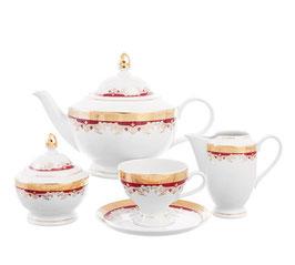 Чайный сервиз Thun КРАСНАЯ ЛИЛИЯ на 6 персон 15 предметов