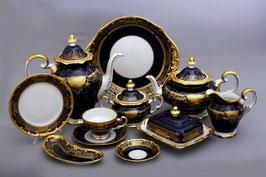 Немецкий чайный сервиз Weimar СИМФОНИЯ ЗОЛОТАЯ КОБАЛЬТ на 12 персон 54 предмета ( артикул МН 29951 В )