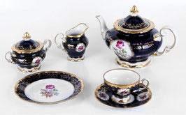 Немецкий чайный сервиз Weimar САНКТ ПЕТЕРБУРГ кобальт на 6 персон 21 предмет ( артикул МН 33383 В )