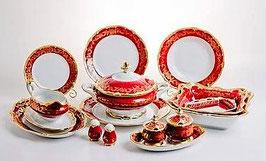 Немецкий столовый сервиз Weimar ЮВЕЛ Красный На 6 персон 30 предметов ( артикул МН 3772 В )
