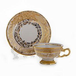 Набор для кофе мокко Carlsbad ЛИСТ МЕДОВЫЙ на 6 персон 12 предметов