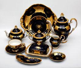 Немецкий чайный сервиз Weimar КЛЕНОВЫЙ ЛИСТ СИНИЙ на 12 персон 55 предметов ( артикул МН 109 В )