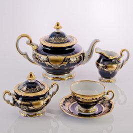 Немецкий чайный сервиз Weimar СИМФОНИЯ ЗОЛОТАЯ КОБАЛЬТ на 6 персон 21 предмет ( артикул МН 3759 В )