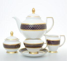 Чайный сервиз Falkenporzellan VALENCIA COBALT GOLD на 6 персон 15 предметов