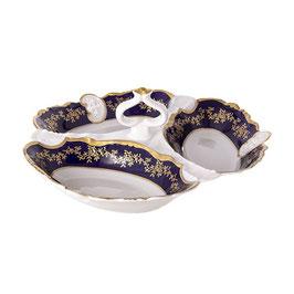 Менажница тройная МАРИЯ ТЕРЕЗА СИНЯЯ Bavarian Porcelain 23 см
