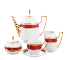 Чайный сервиз Thun МАРИЯ ЛУИЗА МАНТИЯ БОРДО на 6 персон 15 предметов