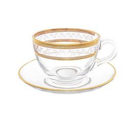 Набор для чая КЛАУДИЯ  ЗОЛОТОЙ ЛИСТ Bohemia Crystal на 6 персон 12 предметов