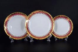 Набор тарелок для сервировки стола Thun КОНСТАНЦИЯ РУБИН ЗОЛОТО 18 штук
