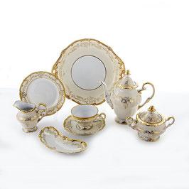 Немецкий чайный сервиз Weimar ЮВЕЛ Кремовый на 6 персон 23 предмета ( артикул МН 28382 В )
