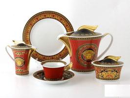Немецкий чайный сервиз  Roshental МЕДУЗА КРАСНАЯ на 6 персон 15 предметов ( артикул МН 2076 В )