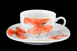 Набор для чая ЛЕОН КРАСНЫЕ МАКИ Thun на 6 персон 12 предметов