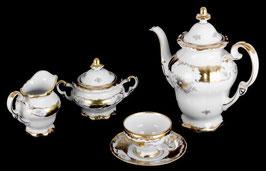 Немецкий кофейный сервиз Weimar КЛЕНОВЫЙ ЛИСТ БЕЛЫЙ на 6 персон 15 предметов ( артикул МН 3627 В )