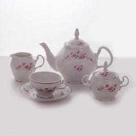Чайный сервиз Bernadott РОЗА СЕРАЯ ПЛАТИНА на 6 персон 15 предметов