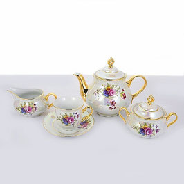 Чайный сервиз Thun КОНСТАНЦИЯ БУКЕТ ПЕРЛАМУТР на 6 персон 15 предметов