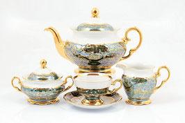 Чайный сервиз Sterne Porcelan ЛИСТ ЗЕЛЕНЫЙ на 6 персон 15 предметов