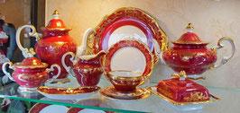 Немецкий чайный сервиз Weimar ЮВЕЛ Красный На 12 персон 55 предметов ( артикул МН 187 В )