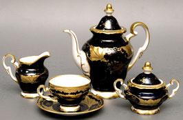 Немецкий кофейный сервиз Weimar КЛЕНОВЫЙ ЛИСТ СИНИЙ на 6 персон 15 предметов ( артикул МН 3793 В )