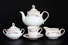 Чайный сервиз Thun ЦВЕТОЧНЫЙ САРАФАН на 6 персон 15 предметов