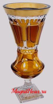 Немецкий Хрусталь ARNSTADT. Ваза для цветов Антик Медовый 32 см ( артикул МН 6955 В )