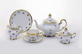 Немецкий чайный сервиз Weimar МЕЙСЕНСКИЙ ЦВЕТОК на 6 персон 21 предмет ( артикул МН 24810 В )