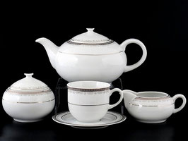 Чайный сервиз Thun ОПАЛ ПЛАТИНА на 6 персон 15 предметов