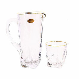 Набор для воды КВАДРО ЗОЛОТОЙ ОБОДОК Bohemia Crystal 7 предметов