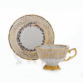 Набор для чая Carlsbad ЛИСТ БЕЛЫЙ на 6 персон 12 предметов