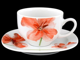 Набор для кофе ЛЕОН КРАСНЫЕ МАКИ Thun на 6 персон 12 предметов