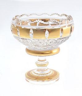 Хрустальная ваза для варенья Bohemia Cristal ЗОЛОТАЯ ПОЛОСА 12 см