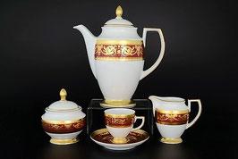 Кофейный сервиз Falkenporzellan IMPERIAL BORDEAUX GOLD на 6 персон 15 предметов