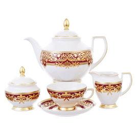 Чайный сервиз Falkenporzellan NATALIA BORDEAUX GOLD на 6 персон 15 предметов