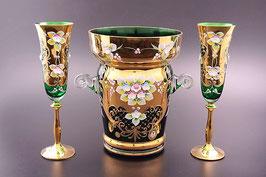 Набор для шампанского Bohemia crystal ЛЕПКА СМАЛЬТА ЗЕЛЕНАЯ 7 предметов