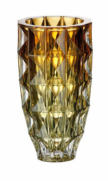 Ваза для цветов ДИАМОНД ЖЕЛТАЯ Bohemia Crystal 28 см