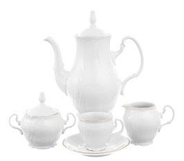 Кофейный сервиз Bernadotte ЗОЛОТОЙ ОБОДОК на 6 персон 15 предметов