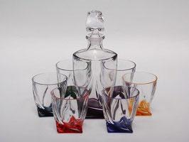 Набор для виски КВАДРО ЦВЕТНОЙ Bohemia Crystal 7 предметов