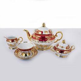 Чайный сервиз Carlsbad РОЗА ЗОЛОТАЯ КРАСНАЯ на 6 персон 15 предметов
