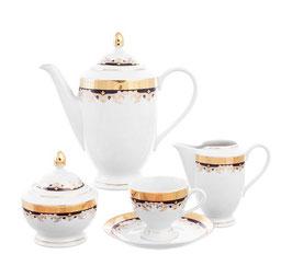 Кофейный сервиз Thun ЧЕРНАЯ ЛИЛИЯ на 6 персон 15 предметов