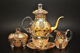 Чайный сервиз Bohemia Crystal ХРУСТАЛЬ С ЗОЛОТОМ на 6 персон 15 предметов