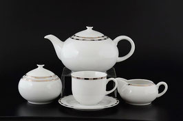 Чайный сервиз Thun ОПАЛ ПЛАТИНОВЫЕ ПЛАСТИНКИ на 6 персон 15 предметов