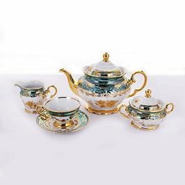 Чайный сервиз Carlsbad РОЗА ЗОЛОТАЯ ЗЕЛЕНАЯ на 6 персон 15 предметов