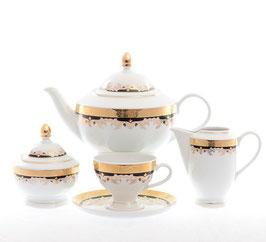 Чайный сервиз Thun ЧЕРНАЯ ЛИЛИЯ на 6 персон 15 предметов